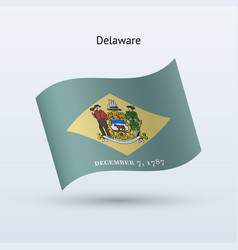 state of delaware flag waving form vector image vector image