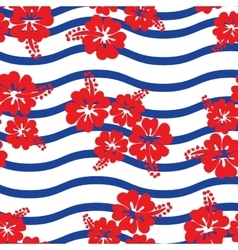 Seamless pattern Hibiscus flowers vector image