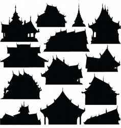 temple building silhouettes vector image
