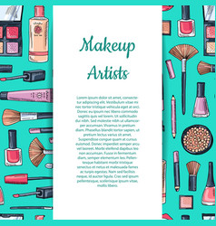 hand drawn makeup products background with vector image vector image