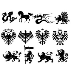 vector heraldic animals set 2 vector image vector image