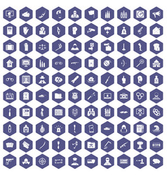 100 violation icons hexagon purple vector image vector image