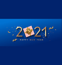 2021 happy new year pink gift box and gold bow vector image