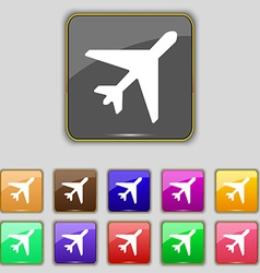 Airplane icon sign set with eleven colored buttons vector