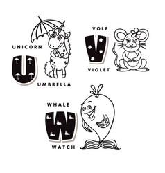 alphabet letter u v w depicting an unicorn vote vector image