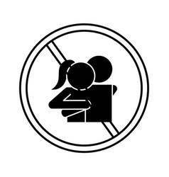 Ban on woman and man hug silhouette style icon vector