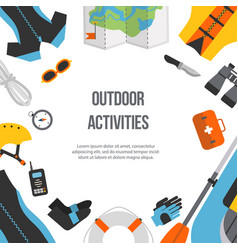 Banner equipment sports and outdoor flat design vector