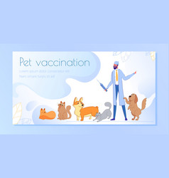 Banner inscription pet vaccination cartoon vector
