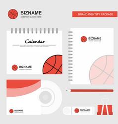 basket ball logo calendar template cd cover diary vector image