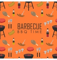 BBQ time seamless pattern Barbecue grill concept vector