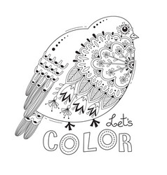 bird with patterns and flowers coloring book page vector image