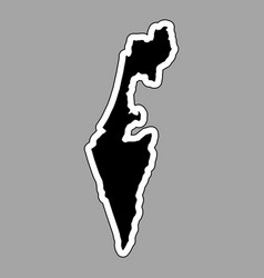 black silhouette of the country israel with the vector image