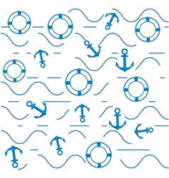 Blue anchors and lifebuoys vector image