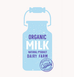 Blue milk can container emblem with text and stamp vector