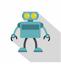 blue robot icon flat style vector image
