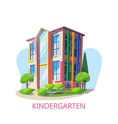 Building of kindergarten with playgroundpreschool vector