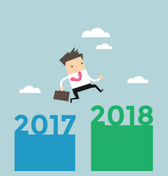 businessman jump from 2017 to 2018 vector image