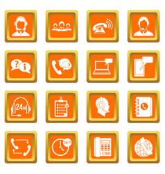 call center symbols icons set orange vector image