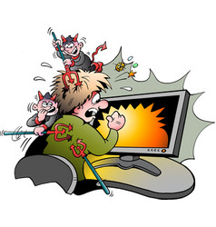 cartoon of a computer surfer that is attacked by vector image