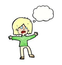 cartoon scared person with thought bubble vector image