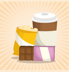 Coffee and chocolate bar with potatoes bag vector