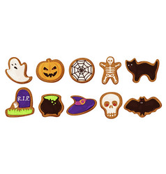 Collection colored halloween cookies vector