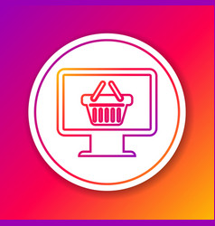 color computer monitor with shopping basket line vector image
