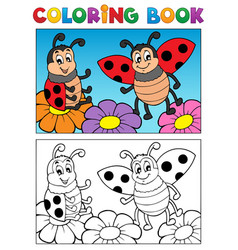 Coloring book ladybug theme 2 vector