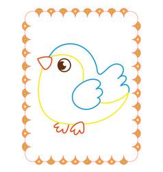 coloring book of cute sparrow bird on spring vector image