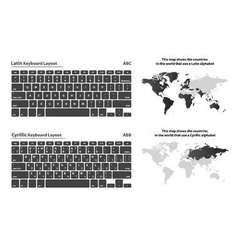 Cyrillic and latin alphabet keyboard layout set vector