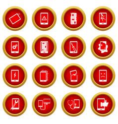 Device repair symbols icon red circle set vector