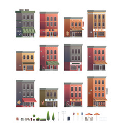 Downtown building set with shop or store isolated vector