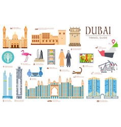 Dubai set travel invitation concept vector