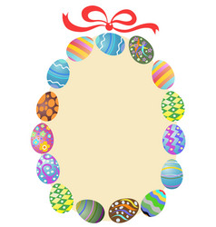 easter eggs round frame vector image