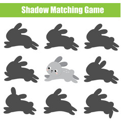 Educational children game shadow matching kids vector