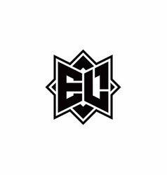 El monogram logo with square rotate style outline vector