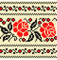 embroidery cross stich pattern flower vector image