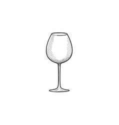 Empty wine glass engraving of wineglass glassware vector