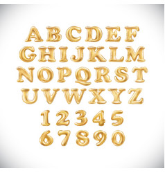 english alphabet and numerals from yellow golden vector image