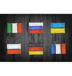 European countries flags made of wooden planks vector image