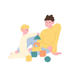 father and son playing with toy building blocks or vector image