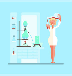 female scientist in lab room vector image