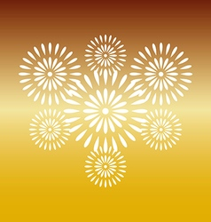 Fireworks white on gold background vector