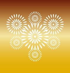 Fireworks white on gold background vector image