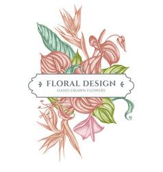Floral bouquet design with pastel gloriosa vector