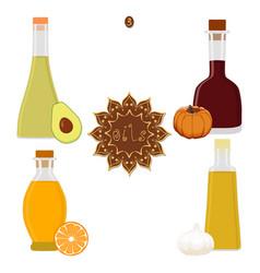 for set various bottles oil vector image