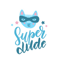 funny cat superhero in mask kids hand drawn print vector image