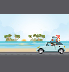 funny family driving in car on weekend holiday vector image