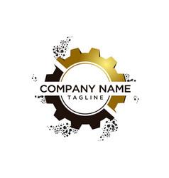 Gear 3d logo template vector
