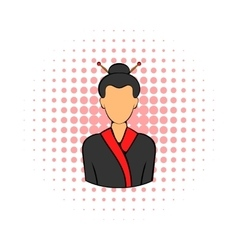 Geisha icon in comics style vector image